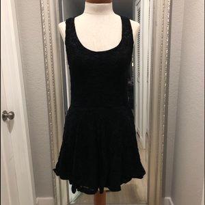SEMI SHEER BLACK LACE SLEEVELESS DRESS